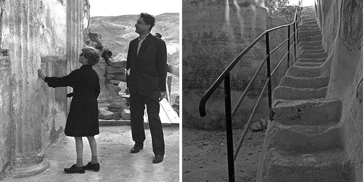 """מימין: בור מים במצדה משמאל: דיוויד אסטור, מממן החפירות במצדה ובנו מבקרים בחלק התחתון של ארמון הקיץ של הורדוס במצדה (לע""""מ/Fritz Cohen)"""