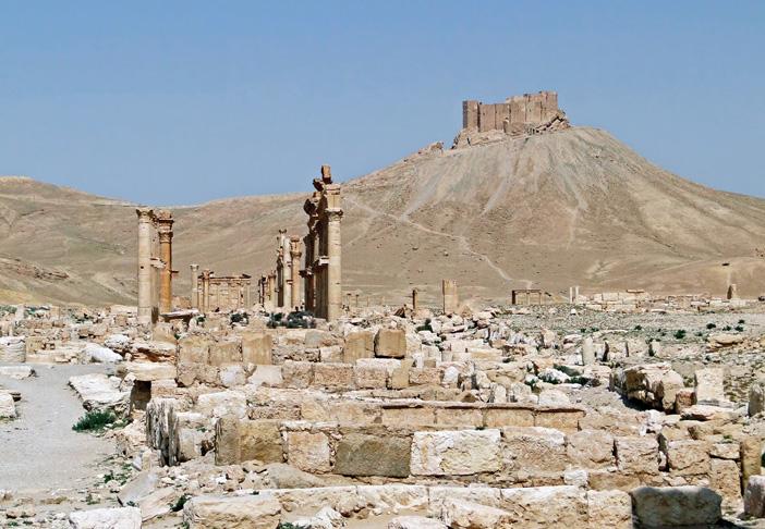 המחנה הצבאי הרומי של דיוקלטיאנוס בתדמור. על ההר המצודה העותמאנית של תדמור
